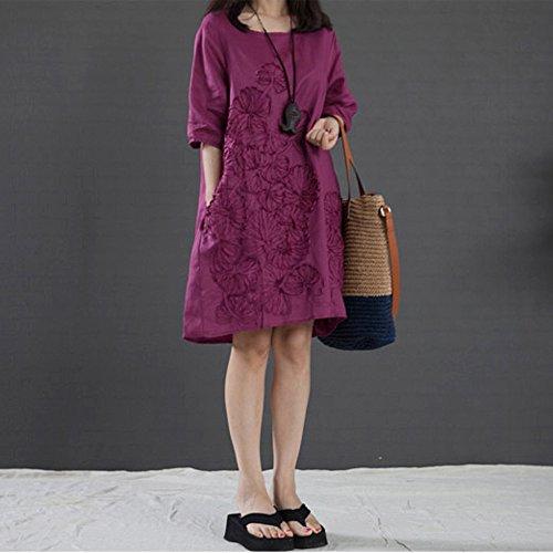 Femmes Tops Tunique Robes Dame Floral Lin Uni Daliy Moitié Manches Soirée Mini Robe Avec Des Poches Violet