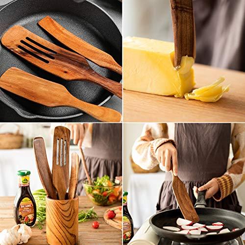 Wooden Spurtles Set. Slotted spatula colander for Sauce salad stirring. Kitchen Cooking Utensil 5 Set (Spurtles)