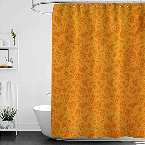 Bathroom Curtains,Halloween Monochrome Design with Traditional Halloween Themed Various Objects Pumpkin Bat Print,Shower stall Curtain,W36x72L,Orange]()