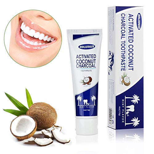 Holisouse Activated Charcoal Teeth Whitening Toothpaste – Remove Stain & Bad Breath – Refresh Breath – Improve Oral Hygiene – Natural Coconut Whitener, Fluoride Free, Mint Flavor