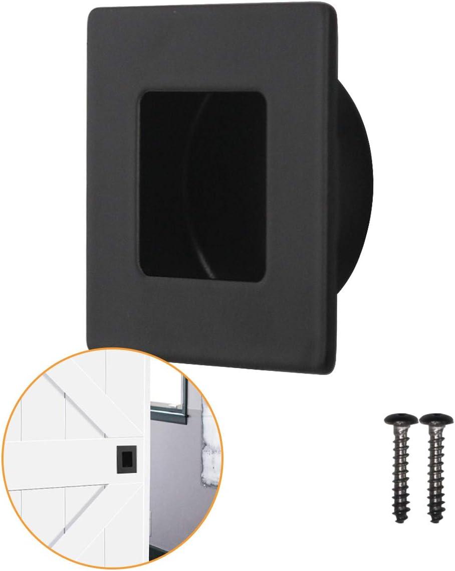 PinLin 1 Pezzi Incasso Maniglie Per Porte Scorrevoli Nero Piazza 304 Acciaio Inossidabile Maniglia 70 mm x 70 mm Con Viti Nascoste Inserimento Delle Dita Serie Invisibile