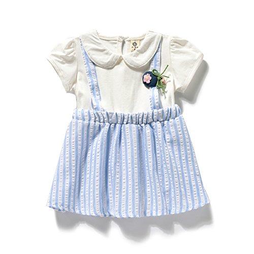 Ropa infantil vestido de bebe baby doll ropa de verano dos piezas falsas princesa Vestido de manga corta 0-1-2-3 años, 80cm: Amazon.es: Ropa y accesorios