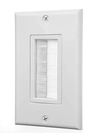 Placa de pared Insert - Cepillo decora-style Pass a través de placa de pared de cable para cables - cable de luz Socket Plug Port de pared/correa de acceso ...