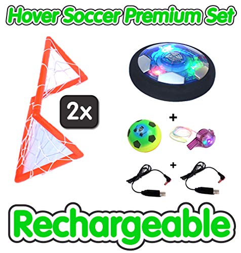 Hover Soccer Ball Set, Rechargeable; Great Boys and Girls Gift Idea; Premium Package Set Indoors with LED; 7inch; 2 Goals and 2 Bonuses; Air Power Soccer Trending Sports Toy for Kids 3-12 Years