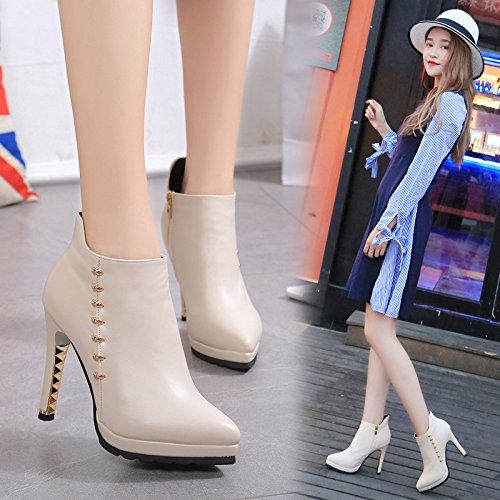KHSKX-Side Zipper Short Boots Autumn Winter New Sharp Head Fine Heel Fashion Water Drill Waterproof Platform Bare Boots Thirty-nine nV7GAXM