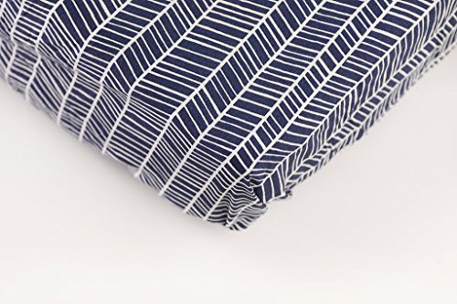 Danha Premium Fitted Cotton Crib Sheet With Herringbone Print – Standard Crib Mattress Size – Toddler, Kids Bedding – Navy Herringbone Nursery Décor Theme – Ideal Baby Shower Gift For Boys Or Girls