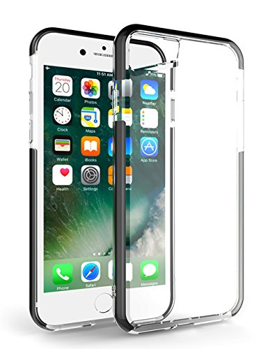 iPhone 7 Clear Case, Bidear Universal Soft TPU Shockproof Cover Case with Lanyard Hole for Apple iPhone 6 /6S & iPhone 7 4.7 Inch - Black