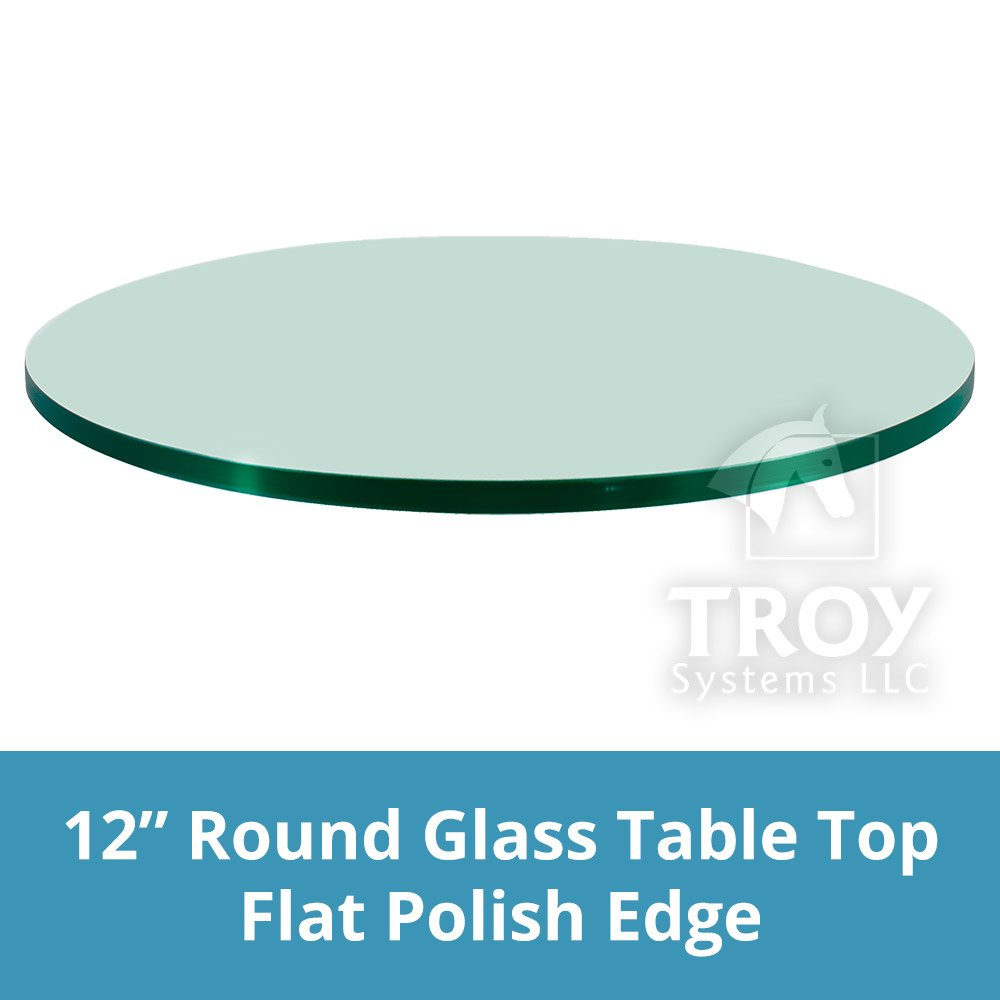TroySys Round Glass Table Top Clear Tempered 3/8 Thick Glass with Flat Polished Edge for Dining Table, Coffee Table, Home and Office Use, 12'' L