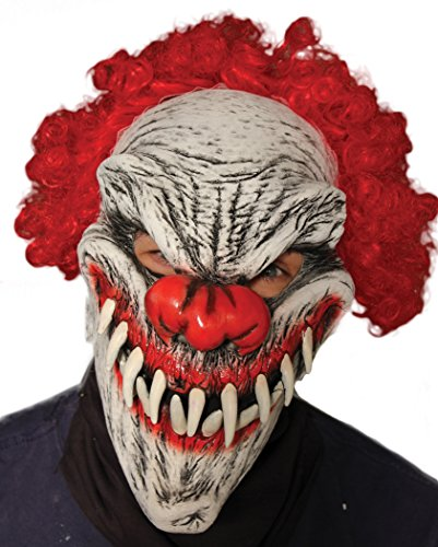 Zagone Last Laugh Mask, Red Haired Evil Clown, Large (Scary Clown Teeth)