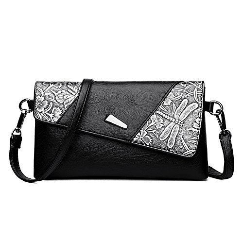 Retro Minimalist PU Buckle Shoulder Sunbobo Pattern Messenger Bag Magnetic Bag Square Black 1pw6xWgq