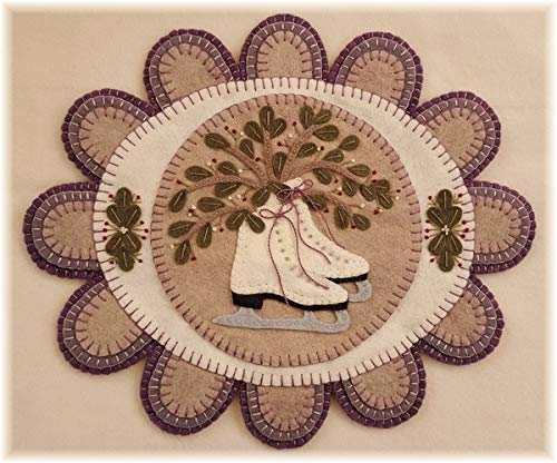 (Mistletoe Memories Penny Rug Kit Pre Cut and Pre Washed Applique Kit Ice Skating Pattern)