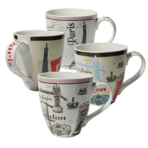 De Paris Mugs - Set of Four (4) Assorted Paris London Design 16 oz Coffee Mugs IG13519 [A-to-Z Deals]