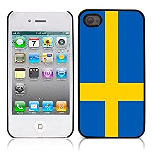 The Swedish flag Hard Plastic and Aluminum Back Case for Apple iphone 4 4S