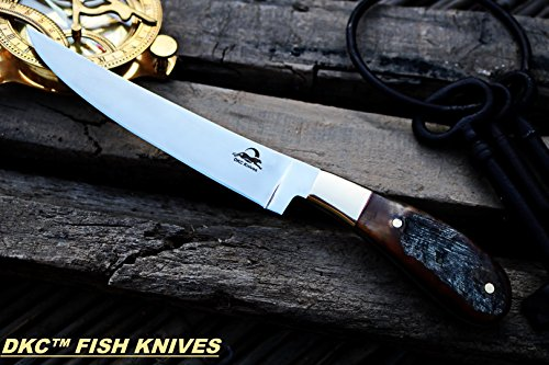 "DKC Knives (8 7/18) DKC-952-440c Rustic Stag Fish Filet Knife 440c Stainless Steel Blade 7.4oz 6.75"" Blade 11"" Overall TM"