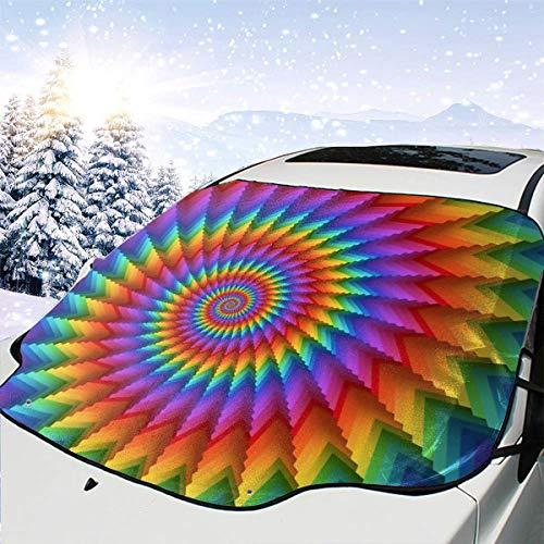 (TARDIGA Car Front Windshield Snow Cover Psychedelic Rainbow Spiral Texture Car Windsheild Sun Shade UV Rays Blocker Protector for Car Sedans Truck SUV )