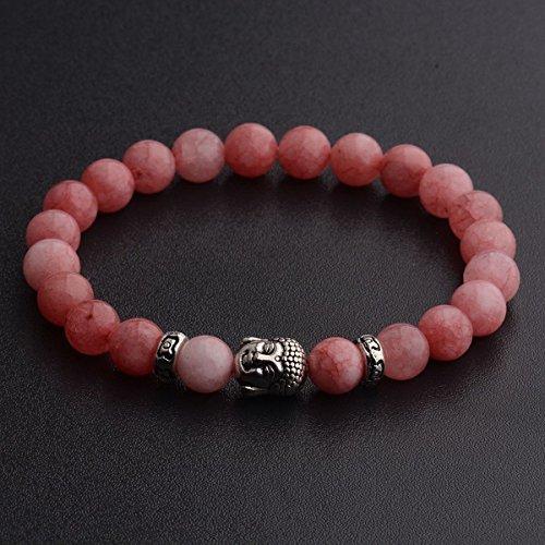 Buddha Bead Gem Bracelet (Natural Gemstone Beads Buddha Head Beaded Men Womens Lava Rock Handmade Bracelet 187-N)