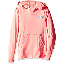 Skechers Big Girls' Sport Pullover Hooded Top, Peach Amber, X-Large
