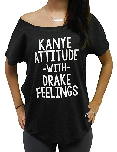 Kanye Attitude With Drake Feelings T-Shirt Off Shoulder Dolman (MEDIUM, HEATHER - Drake Rap Style