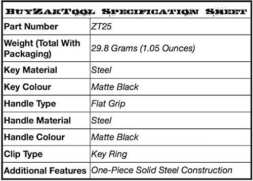 Zak Tool ZT25 Tactical Stealth Black Steel Flat Grip Police Handcuff Key With Zak Tool Logo