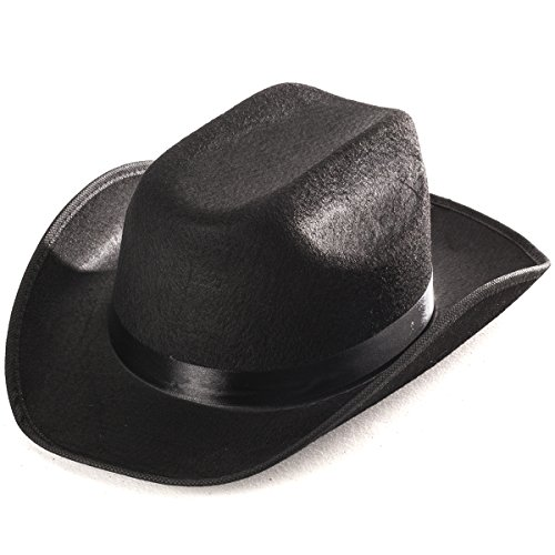 Black Child's Felt Cowboy Hat - Classic Child's Felt Cowboy Hat In Black (Adult Black Cowboy Hat)