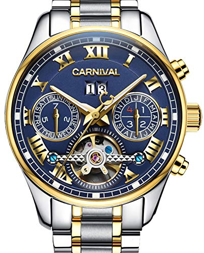 PASOY Carnival Men's Watch Automatic Mechanical Tourbillon Stainless Stell Date Blue Dial Skeleton Watch (Blue)