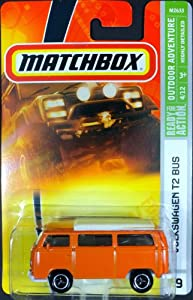Matchbox Vw T2 Bus Orange, white Top, Highly Detailed Replica, 2007, #79. Old style 3 lug Wheels. scale 1/64.