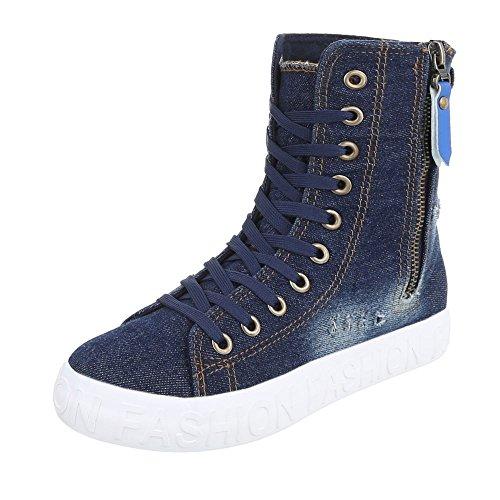 Ital Zapatillas oscuro altas azul Design Mujer HOqTxHPrw