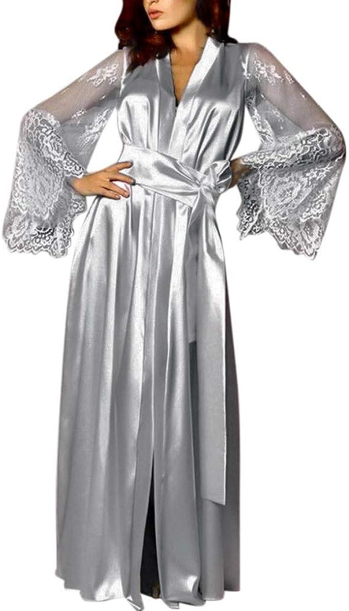 Vogue Bridal Women/'s Long Satin Kimono Robes Pure Color Silk Kimono Bathrobes...