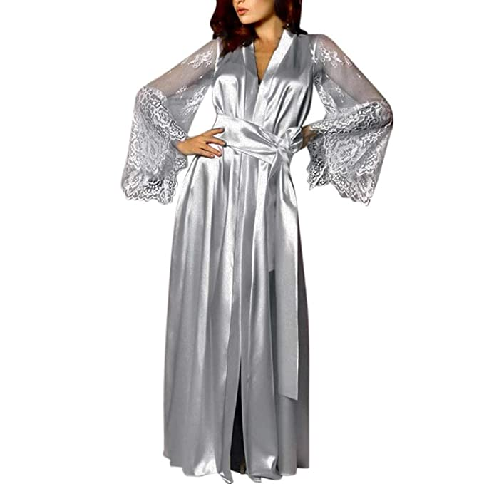 Pervobs Women Satin Pure Colour Long Sleeve Belt Long Nightdress Silk Lace Lingerie Nightgown Sleepwear Sexy Robe at Amazon Womens Clothing store: