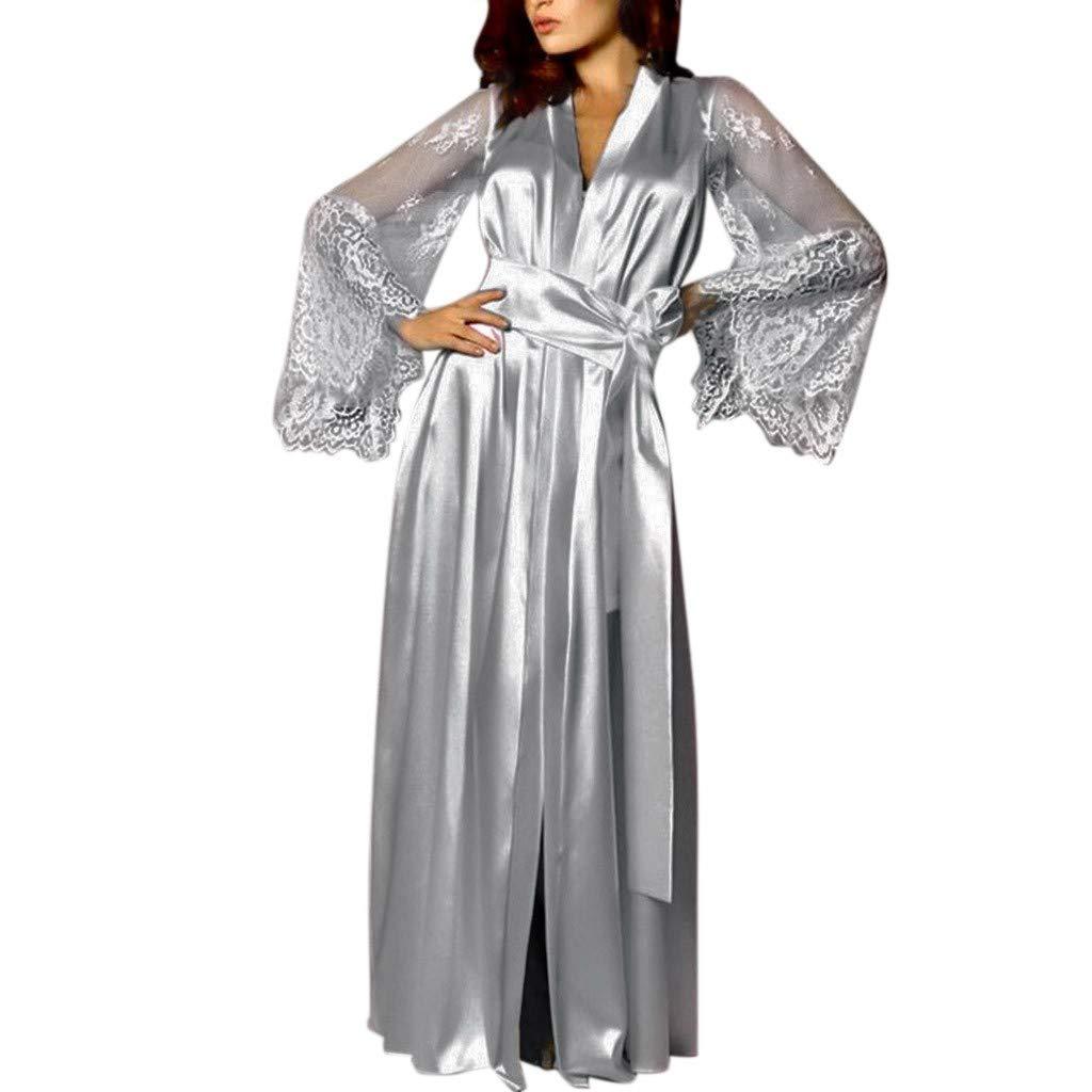 7f9038d84f Amazon.com  Nadition Fashion Elegant Nightgown for Women Comfy Satin Long  Nightdress Silk Lace Lingerie Sleepwear Sexy Robe  Clothing