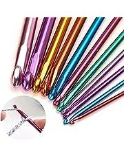 Toomett 11 stuks haakhaken aluminium breinaalden set, meerkleurig, 2 mm tot 8 mm
