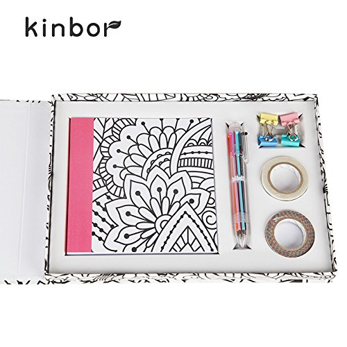 Kinbor Kid's Student Stationery Set Unique Notebook Gift School Supplies Coloring with Pen, Binder Clips, Washi Tape,Notebook