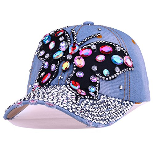 CRUOXIBB Women Butterfly Baseball Cap Crystal Rhinestone Snapback Caps Denim Hat (Light Blue 1)