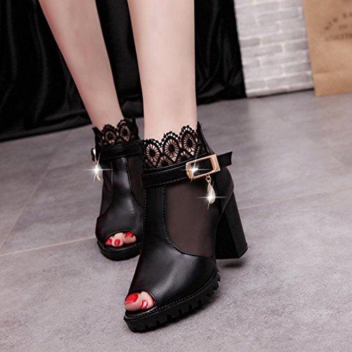 Damen Sandalen,Sannysis Damen Frühling Sommer Knospe Seide Garn Fisch Mund Atmungsaktiv Stiefel Sandalen mit hohen Absätzen Schwarz