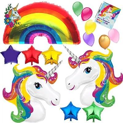 HUGE Unicorn Rainbow Star Mylar Latex Happy Birthday Balloon decorations Bundle with 8 Party Invitations and temporary tattoo