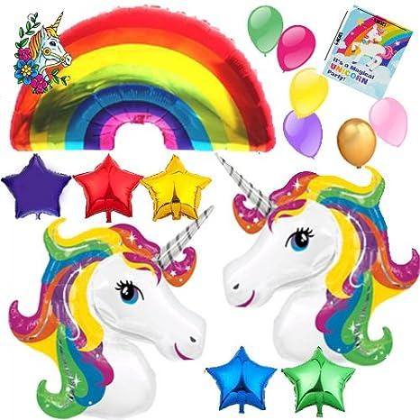 Amazon com: Washunga Fun Huge Unicorn Rainbow Star Mylar