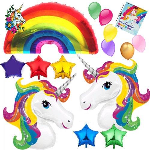 Balloon Birthday Invitations (HUGE Unicorn Rainbow Star Mylar Latex Happy Birthday Balloon decorations Bundle with 8 Party Invitations and temporary tattoo)