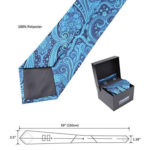 De Pochette Lot Manchette Boutons cravate Teal Alizeal Homme tqw6U7wX