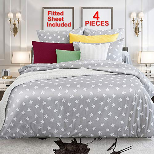 Bed Duvet Set - Queen Bedding Set 4 Pieces Egyptian Cotton 100 Percent Duvet Cover Sets European Quality Sateen Soft Grey Fitted Sheet Men Women Bed Set