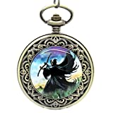 E-future Unisex Alloy Quartz Pocket Watch Skull Grim Reaper Image Bronze
