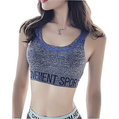 Zxl-yf Yoga Kleidung Sport Unterwäsche Frauen Keine atmungsaktive Weste aus Stahlring hohe elastische stoßfest gerafft BH Doppelschultern Brief BH (Farbe : Blau, größe : S)