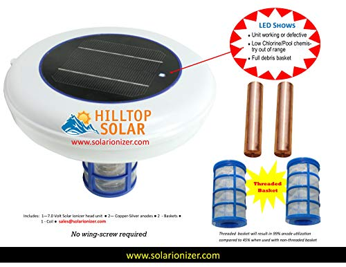 Solar swimming pool Ionizer with LED indicator (Shows On or OFF & Pool Chemistry) - 2 anodes & 2 baskets & 2 Wing Screws - Saves more than 900/yr - NO TAX