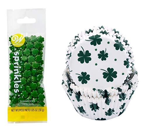 - Happy St. Patrick's Day 75 Piece Shamrock Print Cupcake Baking Cups & 1.05 oz of Green Shamrock Sprinkles Holiday Cupcake Baking Decorating Bundle