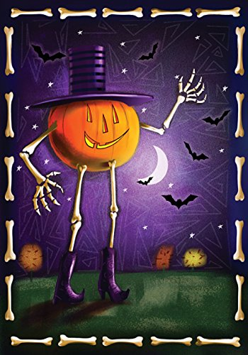 Toland Home Garden Jack and Bones 12.5 x 18 Inch Decorative Spooky Halloween Jack-o-Lantern Pumpkin Bat Garden Flag