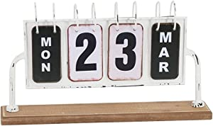"Metal and Wood Perpetual Flip Desk Calendar for Home and Office,Vintage Tabletop Calendar Factory Direct,14.5"" x3.15"" x 7.85"""