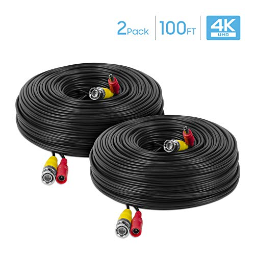 Amcrest 2-Pack 4K Security Camera Cable 100FT BNC Cable, Camera Wire CCTV, Pre-Made All-in-One Video and Power Cable for Security Camera, HDCVI, HDTVI Camera, Analog, DVR (2PACK-SCABLE4K100B-PP)