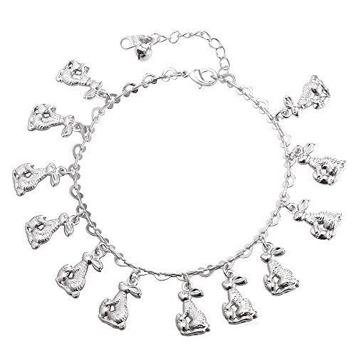 (U7 Bunny Charm Anklets Platinum Plated Heart Link Chain Animal Rabbit Charm Bracelet, Adjustable)