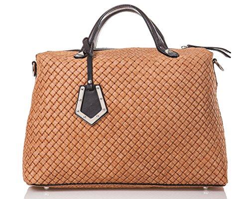 azzesso - Italienische Leder Handtasche Kingston in cognac und schoko braun, Echtleder. Made in Italy, Shopper Bag 37x30 cm