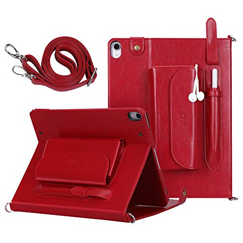 FYY New Apple iPad Pro 12.9 inch 3rd Generation 2018 Case [Support Apple Pencil Charging] Luxury Genuine Leather Case with [Charger Organizer] [Shoulder Strap] [Card Slots] [Multiple Angles] Red