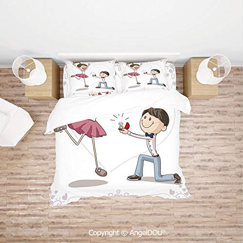 (PUTIEN Durable Cotton Bedding Set (1 Duvet Covers+2 Pillowcases 1 Sheet),Cartoon of Lovely Romantic Couple with Wedding Ring,for Colorful Home Decor. )
